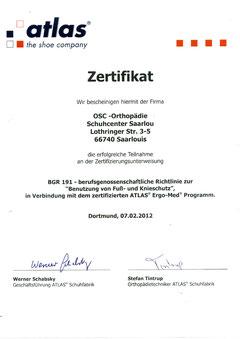 Zertifikat OSC Saarlouis