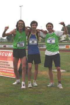 vlnr: die Mannschaftsmeister  Harald, Daniel und Martin