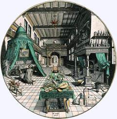 Heinrich Khunrath in seinem Labor; Zeichnung von Hans Vredeman de Vries (1527-1604) .