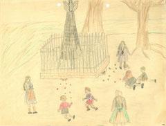 Der Lindenplatz als beliebter Kinderspielplatz. Zeichnung einer Schülerin, Kunstunterricht, 1950.