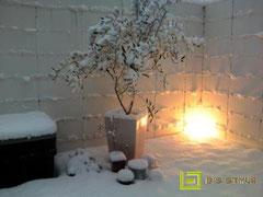 雪の中のデッキライト