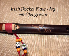 Irish Pocket Flute Dark and Carved Ivy