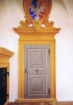 Trompe l'oeil painting of a door