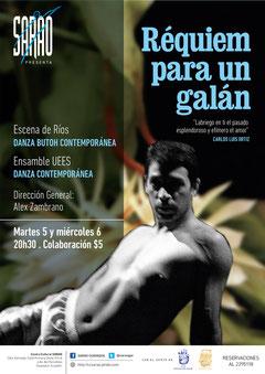 Afiche de las funciones en SARAO de 'Réquiem para un galán'. Diseño de Eduardo Correa.