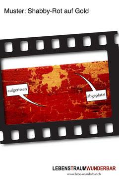 Shabby Used Look - Rot Gold Krakeliertechnik Farbe Abgeplatzt Aufgerissen - Lebenstraum Wunderbar