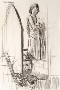 Kate Kern Mundie, Self Portrait with Tool and an Ironing Board, 18 x 12 inches, charcoal on paper
