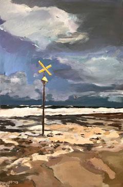 Meer, Brandung, Wellen, auflaufendes Wasser, Dünung, Wolken, Nordsee, Malerei, Kunst, Sylt, Kiter