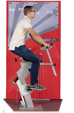 Ergonomie-Beratung im Fachhandel sollte für den Kunden nachvollziehbar sein: Mittels Ergotec-Scanner bringt man als Händler den Radfahrer in eine reale Sitzposition und findet durch Testen die richtigen Einstellparameter (z.B.: Sattelhöhe, Vorbaulänge)