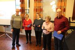 Die geehrten anwesenden Mitglieder des Heimatvereins