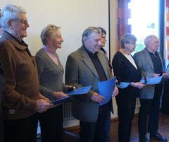 Die geehrten anwesenden Mitgliederdes Heimatvereins