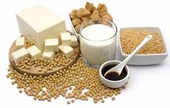 Bebida de soja, tofu, tempeh, habas de soja, proteína de soja texturizada