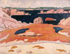 Émile Bernard (1868-1941), Bord de mer en Bretagne, Saint Briac, 1888, huile sur toile, musée des beaux-arts de Brest
