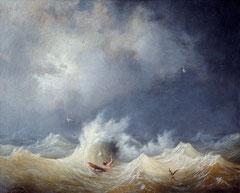 Louis Ambroise Garneray (1783-1857), Le naufragé, huile sur toile, Musée des beaux-arts de Brest.