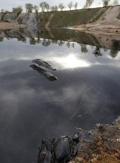 Imagen de la laguna conaminada (El País)
