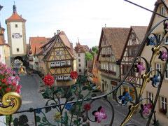 Rothenburg o.d. T., Plönlein mit Siebersturm und Kobolzeller Tor