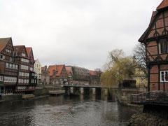 Blick auf den Stintmarkt von der Abtsmühle aus, Lüneburg