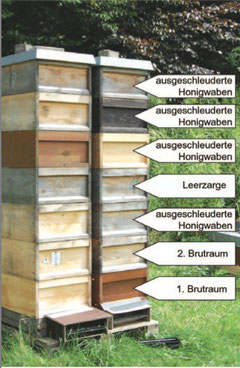 Zargenturm zum Reinigen der Honigwaben
