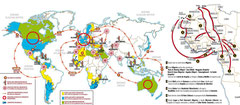 Mapamundi actual de los movimientos migratorios.
