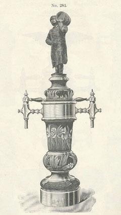 Jugendstil-Zapfsäule mit Bierbrauer um 1900