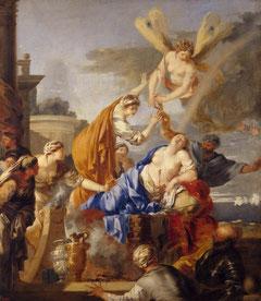 "Sébastien Bourdon, ""Mort de Didon"", (1637-1640), Saint-Petersbourg, Musée de l'Hermitage (source : WGA)."