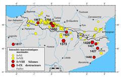Sismicité historique des Pyrénées - © C.N.R.S. de l'Observatoire Midi-Pyrénées (O.M.P.)