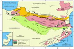 Carte géologique simplifiée des Pyrénées © Observatoire Midi-Pyrénées