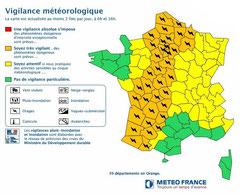 Carte de vigilance météorologique annonçant un risque d'orages violents © Météo France