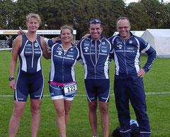 Nicole von Döllen, Christiane Tchorz, Marcell Görke und Rolf Schröder zufrieden nach dem Zieleinlauf in Celle