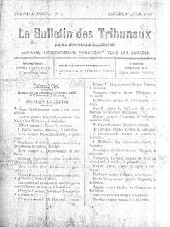 Le Bulletin des Tribunaux de la Nouvelle-Calédonie