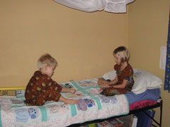 Emily & Elijah playing cards