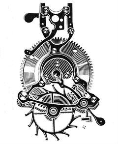 Schematische Darstellung des Drehgestells der UHr