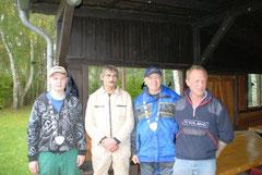 v.l.: Eike Hegenbart (ASV - Jugendkönig), Wolfgang Adena (Tagesbester), Kurt Björnsen (ASV König), Hans-Hermann Meyer (ASV Sportwart)
