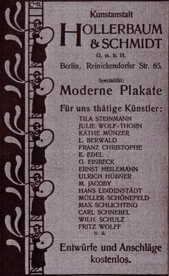 Hollerbaum & Schmidt- für uns thätige Künstler 1900 Inserat