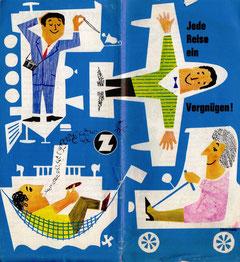 Jede Reise ein Vergnügen! Werbung der Zentralsparkasse 1964. Prospekt von Heinz Traimer.