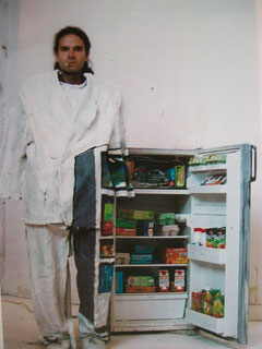 Self-portrait, Open fridge, acrylic on canvas, 2002