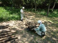 ホダ木の搬入作業