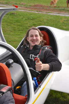 Peter Lehmann freut sich auf den ersten Segelflug
