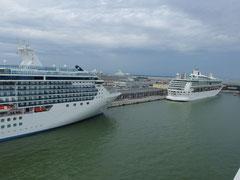港には大きな船がたくさん停泊していました。