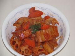 蓮根とかくふのトマト煮