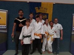 Judo Club Stockerau: Javad, Jonas, Max, Phlipp, Hamed, Luzia, Henry und Markus bei der dritten Runde des internationalen Nachwuchscups