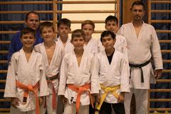 Wettkampfkader des Judo Club Stockerau gemeinsam mit Athleten des Erstligisten Dynamic One.