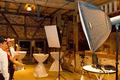 Aufbau der Photobooth auf einer Hochzeit