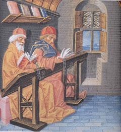 """Umberto Ecos Texte fordern den """"Lector Doctus"""". In der Bibliothek. Buchillustration aus dem 15. Jahrhundert, Musee Condé, Chantilly. Urheber unbekannt."""