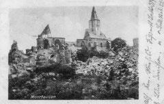 Feldpostkarte der zerstörten Kirche vom Juli 1916