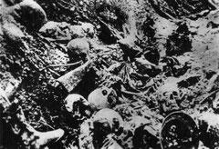 Aufnahme eines Grabens in der Schlucht nach der Schlacht
