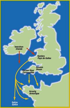 Les migrations en provenance de Cornouailles, du Devon et du pays de Galles au début du Moyen-Âge
