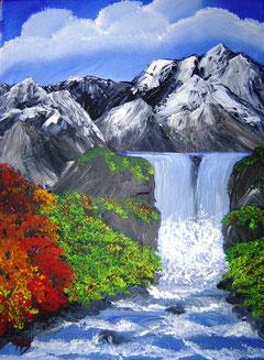 Sagengleicher Wasserfall im Gebirge Jättehem auf Godheim