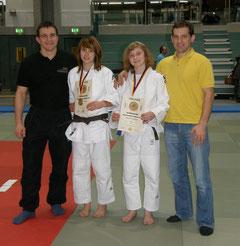 Landestrainer U20 Janos Bölcskei, Selina Dietzer, Jessica Kirschniok und Rok  Košir