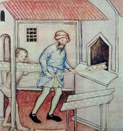 L'apprenti boulanger - Tacuinum sanitatis, Italie (Milan), vers 1390-1400 Paris, BnF, département des Manuscrits, NAL 1673, fol.56