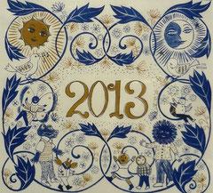 2013年カレンダー (レトロ印刷)